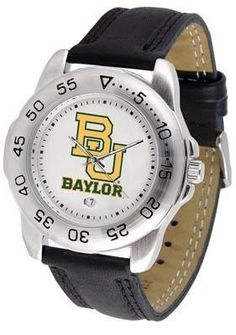 Baylor University Bears Men's Workout Sports Watch by SunTime. $47.95. Baylor Bears men's workout sports watch. This Bears exercise watch with a genuine leather strap. A date calendar function plus a rotating bezel/timer circles the scratch-resistant crystal. Sport the bold, colorful, high quality logo with pride. This sporty watch is perfect for any sport and any workout. The scratch resistant face protects the watch from the hardest workouts and the most dedicated athletes. Wat...