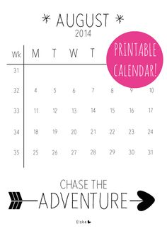 August - printable calendar | Elske | www.elskeleenstra.nl