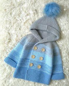 dance of colors blue cardigan - Baby Wolrd Crochet Baby Jacket, Gilet Crochet, Baby Sweater Knitting Pattern, Knit Jacket, Baby Knitting Patterns, Baby Patterns, Baby Cardigan, Cardigan Bebe, Baby Pullover