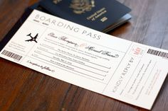 Destination Wedding Boarding Pass Wedding Invitation by deaandbean, $35.00