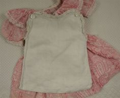 Small Size Antique Original French Cotton Dress And Slip, JUMEAU, BRU, Other French Bebe Doll Circa 1890s