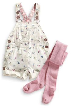 Buy Bird Print Linen Blend Dungarees And Tights Set (3mths-6yrs) from the Next UK online shop