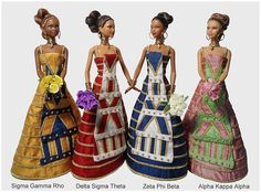 Miniature Museum Inspired Collectible Sorority Dolls   Custom Made Miniature Wedding Dresses in Sorority Colors