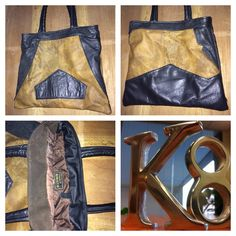 Tote bag made from recycled leather. Made by K8Created in Tasmania. One of a kind.