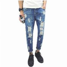 [ 38% OFF ] Brand Clothing Blue Fashion Jeans Pants Slimming Low Waist Jeans Male Skinny Holes Jeans For Men Jeans Ripped Jeans
