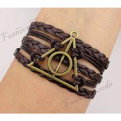 Deathly Hallows Bracelet, Harry Potter Bracelet--Bronze, Wax Cords and Imitation Leather Braid Bracelet--Best Chosen Gift ($3.99) found on Polyvore