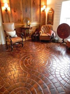 Reclaimed end grain Antique Heart Pine cut from factory beams with an accent of Mesquite burl. Character grade Hickory wall paneling. (West ...
