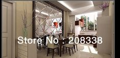 I want to make a large mirror from individual mirror panels for wall to left of dining room table. To brighten room, bring in light from porch windows. Adhere mirrors to wall, then make frame from Home Depot trim. Buy glass/mirror cutting tool to cut mirror panels in diamond shape like this one! Buy beveled mirror panels if possible. Mirror Panels, Tile Panels, Mirror Tiles, Beveled Mirror, Mirrors, Brighten Room, Porch Windows, One Bedroom Apartment, Dining Room Table