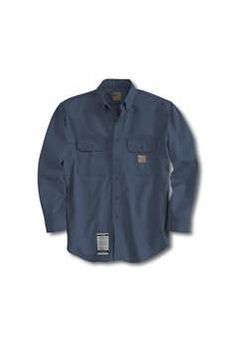 Carhartt Mens FRS160 Flame Resistant Twill Shirt with Pocket Flap - Dark Navy | Buy Now at camouflage.ca