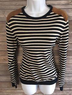 H&M Women's Sweater Size Small Blue Striped Knit Long Sleeve Winter #HM #Crewneck #ebay