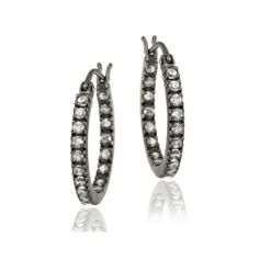 Black Rhodium Overlay Sterling Silver 18mm Inside Out CZ Hoop Earrings SilverSpeck.com. $17.99. Save 60% Off!