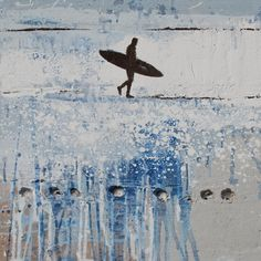 Coming back to the ocean .... by Melanie McDonald - surf art painting with sand and shells