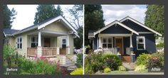 A Craftsman house in Issaquah has been lovingly restored. The richness of Benjamin Moore's Hale Navy provides a good backdrop for the perennial garden with accented corbels in Benjamin Moore's Castleton Mist.