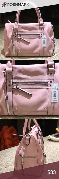 NWT Massini Pink slouchy satchel w/straps! So cute!  Retails $50. Please see other listings for exact same designer and color in backpack style. Thx ! Massini Bags Shoulder Bags