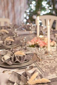 Festive folded napkins and table setting