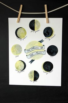 Phases of the Moon  11x14 Giclee Print by YouDollDesign on Etsy, $25.00