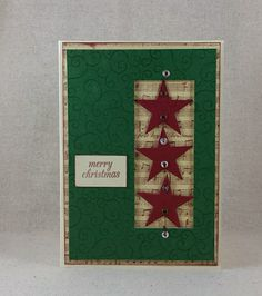 Handmade Hanging Stars Christmas Card by CedarStreetCardShop Hanging Stars, Merry Christmas Card, Greeting Cards Handmade, Advent Calendar, Seasons, Holiday Decor, Tape, Window, Hand Made Greeting Cards