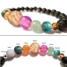UPDATED Space Bracelet Diffuser- Spacelet - Solar System Planets and Lava Rock - Solar System Bracelet - Valenwood Vixen - Ready to Ship - - Cute Jewelry, Diy Jewelry, Beaded Jewelry, Jewelry Accessories, Handmade Jewelry, Jewelry Making, Beaded Bracelets, Jewellery Box, Jewellery Shops