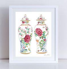 Ginger Jar Vases in White Rose Yellow Giclee Print of Watercolor Painting 8 x…