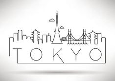 Tokyo City Line Silhouette Design typographique Doodle Drawings, Doodle Art, Tokyo Skyline, City Drawing, City Sketch, Tokyo City, Buch Design, Design Design, Travel Drawing