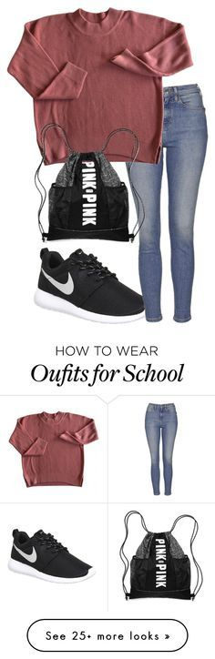"""Back to school monday"" by alyssadesgrange on Polyvore featuring NIKE and Topshop"