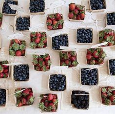 Summer weddings are at a time of year when fresh fruits and vegetables are aplenty. Select produce that is right in-season to find reasonable prices on bulk amounts. Personally, we love a mini-box filled with berries, but if you love your veggies, share bags of radishes and greens as wedding favors!