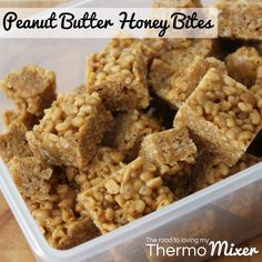 Peanut Butter Honey Bites - The Road to Loving My Thermo Mixer Snack Recipes, Cooking Recipes, Snacks, Sick Food, Yummy Treats, Sweet Treats, Peanut Butter Bites, Square Cakes, Healthy Desserts