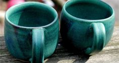 Hand-thrown ceramic mugs, green matte glaze (pair)