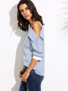 Blue Striped Fold Over Asymmetric Shoulder Contrast Cuff Blouse | MakeMeChic.COM