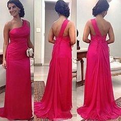 2015 Fuschia Bridesmaid Dresses Long One Shoulder Cheap Chiffon Wedding Party Dress