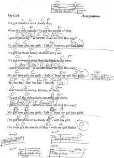 My Girl (The Temptations) Guitar Chord Chart with Lyrics - http://www.youtube.com/munsonmusiclive