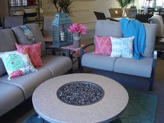 Homecrest outdoor seating and propane firepit perfect for outdoor entertaining.  www.swansfurniture.com