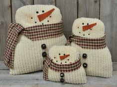 Tea-Stained Snowman, Measures: Height - in. Product Details: Tea-Stained Snowman is made of soft, tufted chenille fabric with a beaded face, jingle bell buttons and homespun fabric scarf. The large size is tall and 9 wide. Christmas Sewing, Christmas Pillow, Primitive Christmas, Felt Christmas, Christmas Snowman, Diy Christmas Gifts, Christmas Projects, Handmade Christmas, Christmas Decorations