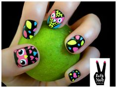 cute colorful owl nails