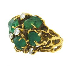 Arthur King Free Form Emerald Diamond Gold Ring | From a unique collection of vintage more rings at https://www.1stdibs.com/jewelry/rings/more-rings/