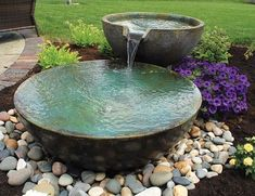 A small fountain enhances backyard relaxation - 6 Top Picks for a Relaxing… Backyard landscaping water features Small Front Yard Landscaping, Backyard Water Feature, Water Features In The Garden, Waterfalls Backyard, Backyard Landscaping, Small Backyard Landscaping, Backyard Garden, Small Fountains, Relaxing Backyard