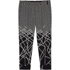 Neil Barrett Geometric-jacquard cropped cotton trousers ($595) ❤ liked on Polyvore featuring men's fashion, men's clothing, men's pants, men's casual pants, mens cuffed pants, mens cropped pants, mens cotton pants and mens herringbone pants