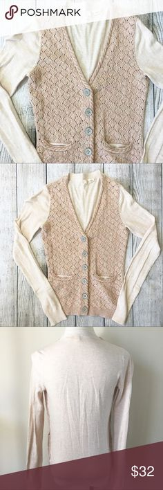 Anthropologie Moth Knit Sweater Cardigan beige pink color with different knit on front // small size pockets // large metal buttons on front // 61% cotton 35% nylon 2% wool 2% cashmere // excellent condition Anthropologie Sweaters Cardigans