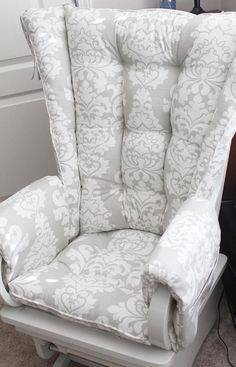 Have an unusual wingback chair and need replacement cushions? We can help? Glider Rocker Cushions, Rocking Chair Cushions, Wingback Chair, Rocking Chair Nursery, Reupholster Furniture, Refinished Furniture, Window Seat Cushions, Custom Cushions, Replacement Cushions