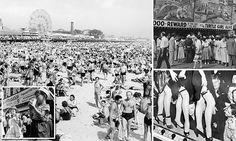 "#Vintage #photos show 1940s Coney Island #bursting with beachgoers, ""freak shows""..."