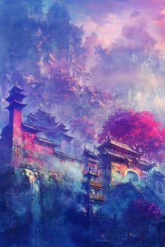 Asian Village In The Mountains Fantasy iPhone wallpaper Fantasy Art Landscapes, Fantasy Artwork, Landscape Art, Asian Landscape, Art Anime, Anime Kunst, Art Asiatique, Nature Wallpaper, Landscape Wallpaper