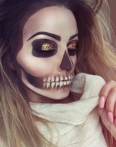 Skeleton Makeup Look for Halloween with a Pop of Glitter