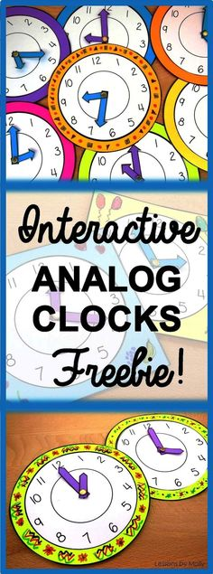 These analog paper clocks will make learning to tell time fun and engaging for your students! The moveable hands make these clocks interactive! Use the clocks when students are learning about the nume (How To Make Friends Bulletin Board) Interactive Analog Clock, Interactive Learning, Interactive Notebooks, 2nd Grade Crafts, First Grade Activities, Make A Clock, Clock For Kids, Elementary Bulletin Boards, Elementary Math