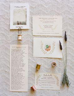 A vintage country style #wedding invitation...gorgeous! From http://greenweddingshoes.com/handmade-vintage-barn-wedding-paige-geoff/  Photo Credit: http://joshgruetzmacher.com/