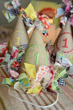 Scrappy burlap birthday hat personalized monogrammed
