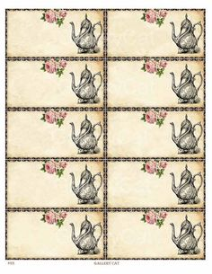 BLANK Teapot Labels Instant Download Digital Collage by GalleryCat