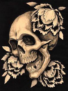 Rebirth Clark North Skeleton Angry Skull Flowers Tattoo Artwork Print