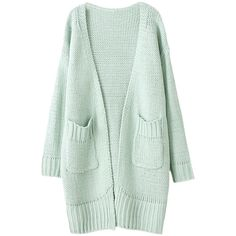 Two-pockets Open-front Md-long Cardigan ($37) ❤ liked on Polyvore featuring tops, cardigans, outerwear, jackets, green cardigan, long cardigan, pocket cardigan, open front cardigan and open front tops