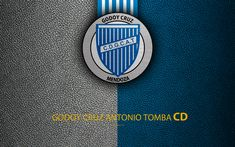 Download wallpapers Godoy Cruz Antonio Tomba, 4k, logo, Argentina, leather texture, football, Argentinian football club, Godoy Cruz FC, emblem, Superliga, Argentina Football Championships, First Division