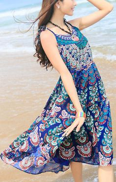 Comfy Boho Chic Beach Dress! Bright Blue Paisley O-neck Sleeveless Printed Chiffon Bohemian Beach Dress